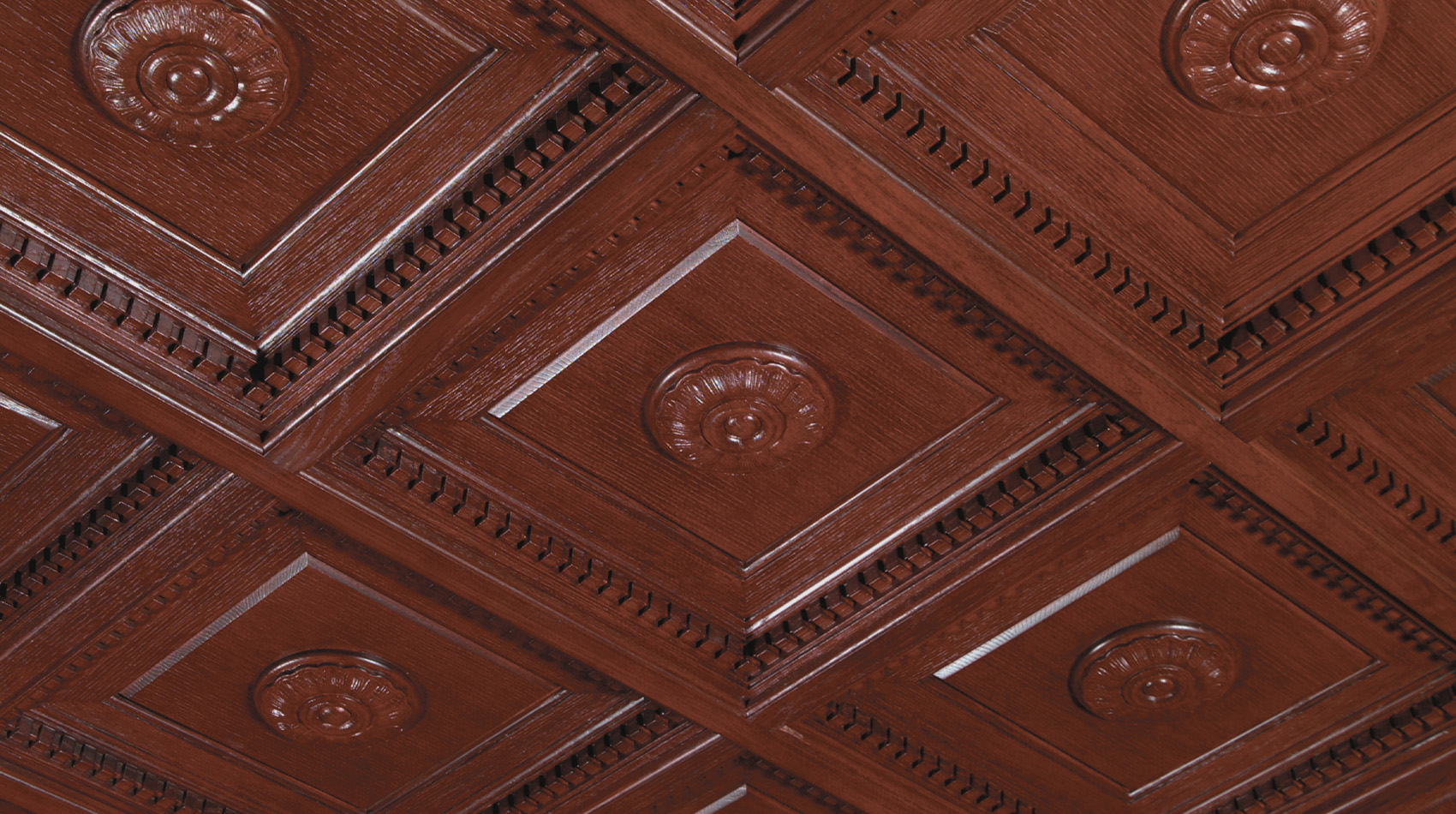 Dentil Coffer: Woodgrain Finish with Cover Grid