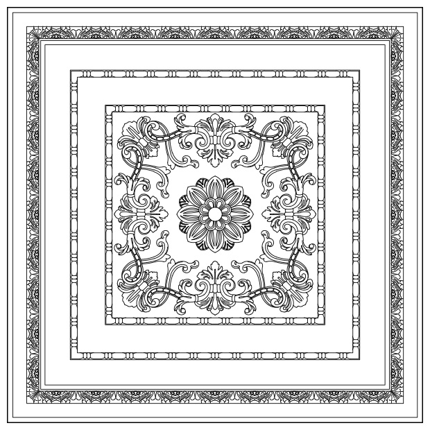 Toscana - Lay-in Coffer Panel w/ Addison Carved Panel Insert
