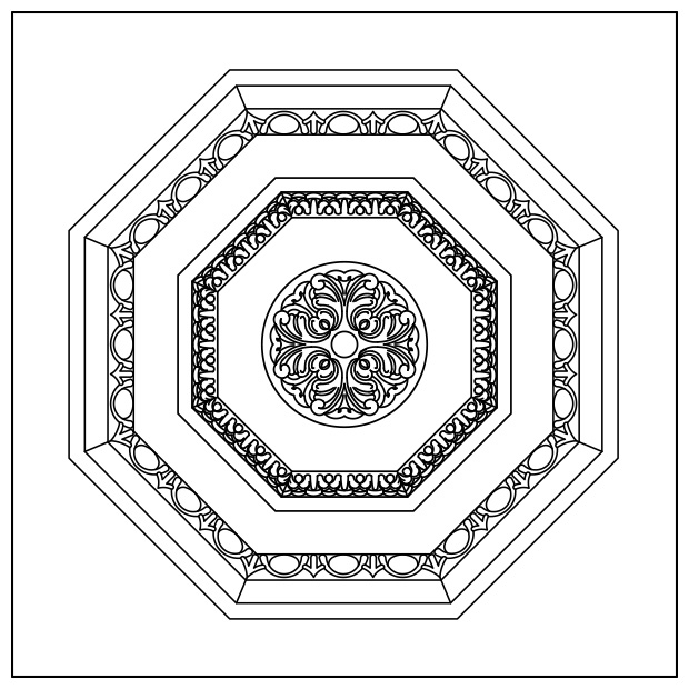 Venezia - Lay-in Coffer Panel w/ Carved Octagon Panel Insert